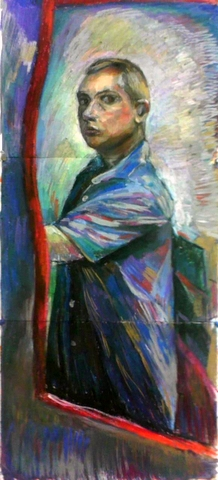 Standing Self Portrait - Marshall Sponder 18″x 36″ Oil Pastel on Canvas Paper - 2008